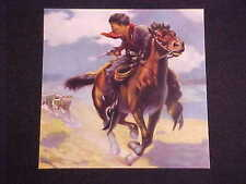 R ATKINSON FOX RARE VINTAGE PRINT WOLVES CHASE COWBOY ON HORSEBACK NMINT COND