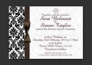 PERSONALISED WEDDING BLACK & WHITE DAMASK INVITATIONS  Y