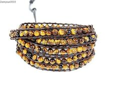 Handmade Natural Grade AAA Tiger's Eye Gemstone Beads Wrap Leather Bracelet