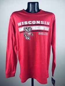 Men's Wisconsin Badgers Colosseum Red Warrior Long Sleeve Tee Shirt 2XL