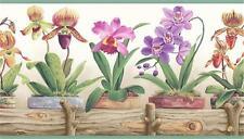 Orchids Flower Wallpaper Border Colorful Flower Pots Planter Box Garden Kitchen