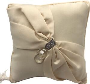 """Lillian Rose Ring Pillow Ivory Sash Satin 8"""" Square"""