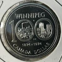 1974 CANADA  SILVER DOLLAR WINNIPEG BRILLIANT UNCIRCULATED CROWN