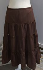 Massini BOHO Skirt 8 Lined Brown Sequins Gypsy Tiered Hippy Peasant Zipper Snap