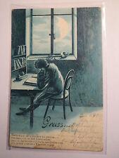 Gruss aus Zürich 1902 - Student beim Lernen - Mensur Text / Studentika