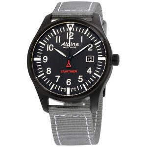 Alpina Startimer Pilot Black Dial Nylon Strap Men's Watch AL-240B4FBS6