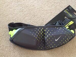 *BRAND NEW* Nike Running Adjustable Double Flask Hydration Belt 2x10oz Grey/Volt