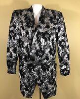 Mondi Women's Shiny Foil Leaves Button Long Sleeve Party Elegant Blazer Size 36