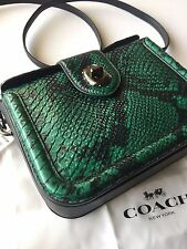 Coach Page Crossbody in Forest Green Stamped Snake Embossed Leather 38493 NWT