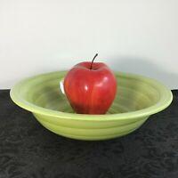 """Citrus Grove Hand Painted Brush Stroke Swirl Pattern Bowl Glossy Green 8.5"""" EUC"""