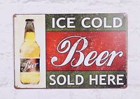 Ice Cold Beer Bar Tin Metal Signs Beer Vintage Poster Home Pub Wall Decor