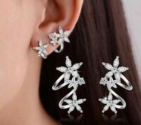 Damen Bolzen Ohrringe Silber 925 Schmetterling Stern Blume Zirkon Women Earrings