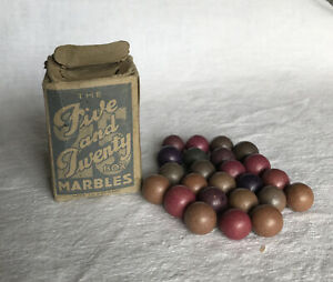 """Vintage Elgee Clay Marbles. Original Box """"The Five And Twenty"""" Made In Germany"""
