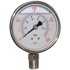 """AIR-PRO/HY-FITT PRESSURE GAUGES - 6000 PSI 63MM ST.ST GAUGE 1/4""""T GLY BOTT 1-025"""