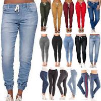 Womens Elastic Waist Denim Skinny Jogger Jogging Pants Jegging Jeans Trousers US