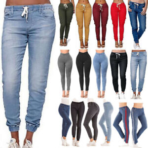 Women Elastic Waist Denim Skinny Slim Jogger Jogging Pants Casual Jeans Trouser