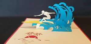3D Pop Up Surfing Greeting card.(Birthday, Holidays, Get Well, Congrats.. Blank)