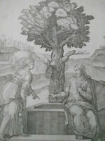 Rare grande gravure d'après Michel Ange par Rossi XVIIème siècle Jésus