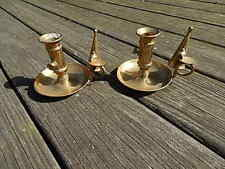 TWO ANTIQUE BRASS CANDLE HOLDERS WITH SNUFFERS NICE INTERNATIONAL SALE