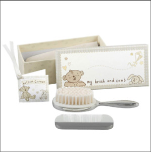 Button Corner Brush & Comb Christening or Baby Gift Set - Silver Plated