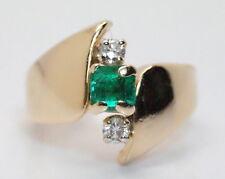 Women'14K Yellow Gold .70 Ct Princess Emerald & Diamond Cocktail Ring Size 7.25