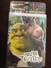 NEW SHREK BIRTHDAY PARTY INVITATIONS 8 pack HALLMARK boys CARDS w/ envelopes