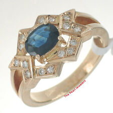 14k Solid Yellow Gold Genuine Diamonds, Natural Blue Oval Sapphire Band Ring TPJ
