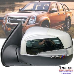 Chrome Left Exterior Side Mirror w/LED 5P For Isuzu D-Max TFR TFS 2007-2011