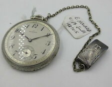 E Howard pocket watch Boston  17J Open Face with chain fob working