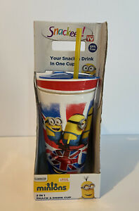Snackeez! 2-in-1 Drink and Snack Cup Minions London NEW 16 oz Drink 4 oz Snack