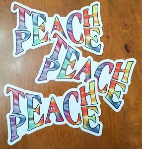 "3-pack TEACH PEACE 5"" x 3"" Die Cut Vinyl Decal Bumper Stickers Tie Dye Hippie"