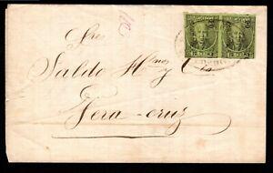 Mexico 19c 1870 wrapper 12c green imperf pair Cordoba to Vera Cruz