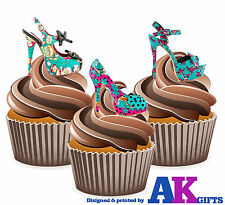 PRECUT Gothic Skull High Heel Shoes 12 Edible Cupcake Toppers Cake Decorations