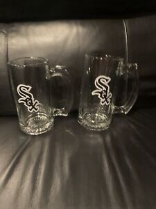 Chicago White Sox Glass Beer Mugs. Set Of Two