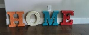 """HOME 3D Colored Metal Rustic Letters Can Hang on Wall or Stand 10""""×12"""" Preowned"""