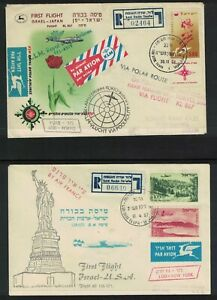 Israel First flight cover KLM-Tokyo & Air France-New York USA  Aviation (RW973)