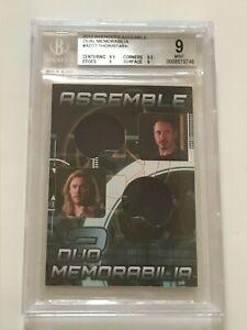2012 UD MARVEL Avengers ROBERT DOWNEY JR Chris Hemsworth MOVIE Costume Card BGS