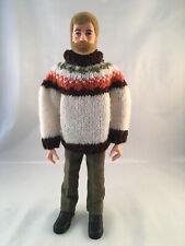 Vintage Palitoy Action Man Bearded Hard Hands Figure - with custom outfit GI Joe