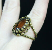 Beautiful Vintage Adjustable West Germany Brass Cocktail Ring Topaz or Glass