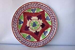 "Antique Blue & Purple Drape Spongeware Spatterware Pottery Plate Dish Stick ""F6"
