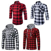 Men's Long Sleeve Casual Print Smart Cotton Work Flannel Plaid Shirt Top Hoodie
