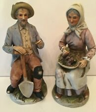 Vintage Homco Farmhouse Old Farmers Fall Grape Harvest Porcelain Figurines 1433