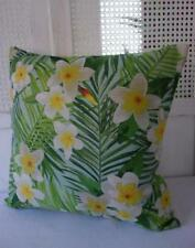 Tropical Leaves + Frangipani Beach Coastal Linen Blend Cushion Cover 45