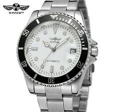 WINNER™ WHITE FACE WATCH STAINLESS STEEL AUTOMATIC SAILOR CLONE,DIVER,SUBMARINER