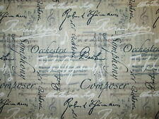 MUSIC NOTES WORDS SYMPHANY ORCESHTA BACH LINEN BACKGROUND COTTON FABRIC BTHY
