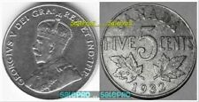 CANADA 1932 CANADIAN NICKEL KING GEORGE V VINTAGE RARE 5 CENT COIN