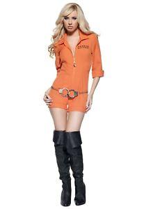 Women's Sexy Prison Busted Convict Orange Jumpsuit Costume Size M L (w/ defect)