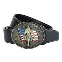 Men Fashion Cowboy American Flag Knight Leather Pin Buckle Strap Belt