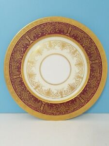 Heinrich and Co. Selb Bavaria German Porcelain Red and 22K Gold Encrusted Plate