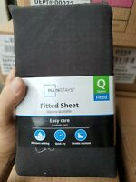 Gray Mainstays 300 Thread Count Fitted Sheet Queen Size